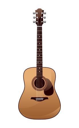 guitarra acustica: guitarra ac�stica sobre un fondo blanco Vectores