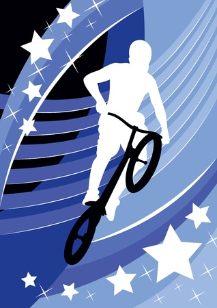 bicyclist in a jump on an abstract background