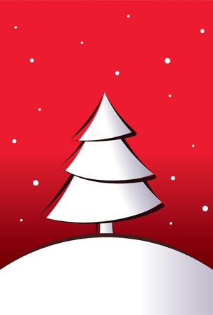 christmas tree on a red background Illustration