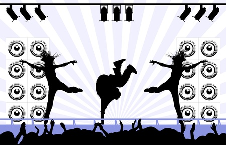 silhouettes of the man and the woman dance on a scene