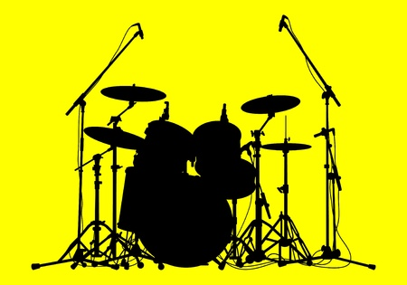 silhouettes of drums on a yellow background