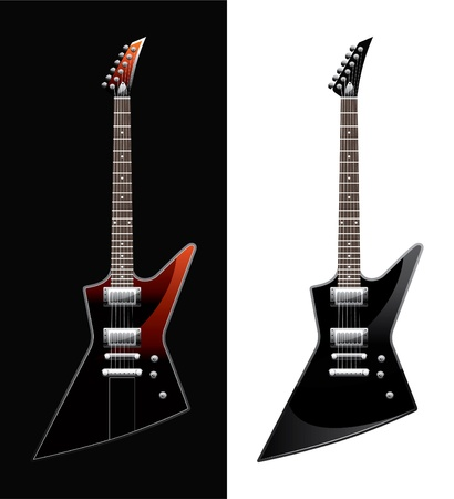 two electric guitars executed in different colours Illustration