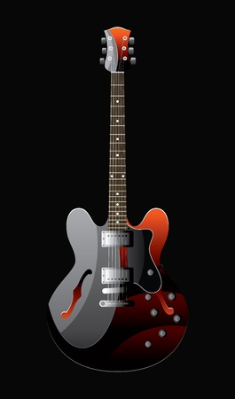 stratocaster: electric guitar of colour of the heated metal on a black background Illustration