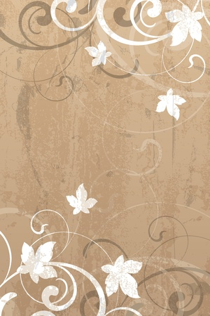 Floral elements on a grunge background