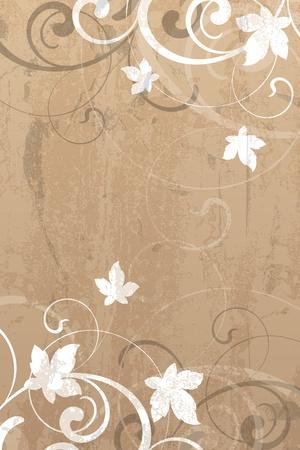 Floral elements on a grunge background