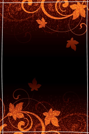 autumn floral elements on a dark background Illustration