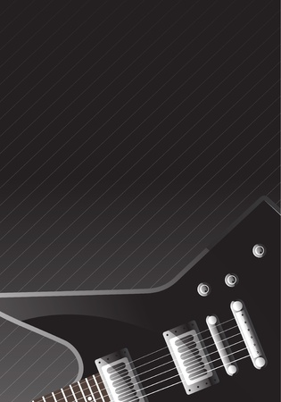 guitar fragment on a black background Illustration