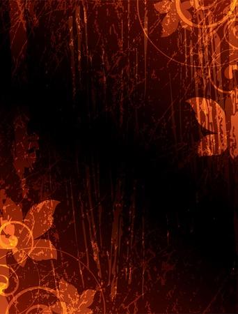 floral elements on a dark texture background