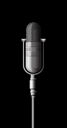 shiny metallic microphone on a black background