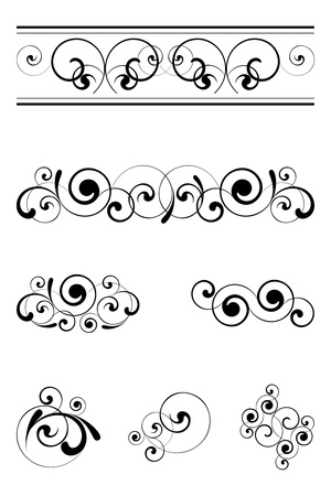swirl border: black floral ornaments on a white background