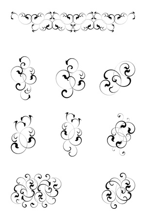 gothic revival style: black floral elememts on a white background
