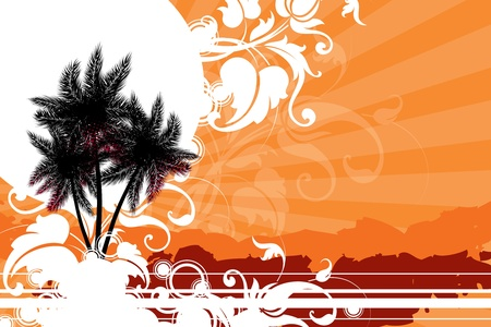 hawaiian culture: palm trees against the sun decorated with decorative elements