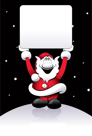 Cheerful Santa Claus on a black background Vector
