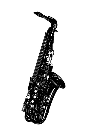 black detailed saxophone on a white background