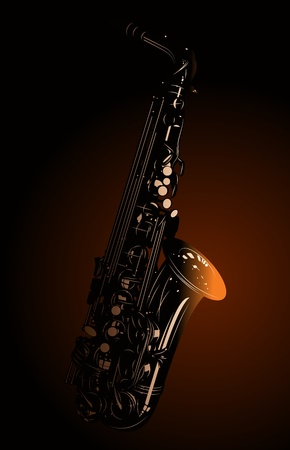 heated: The heated saxophone on a dark background Illustration