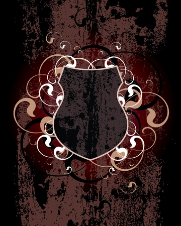 Dirty Shield on a dark-red background Illustration