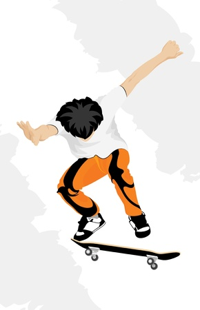 silhouette of a skateboarder in the air Vector
