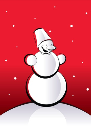 funny smiling snowman on a red background  Illustration