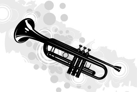 trombón: instrumento musical el tromb�n con elementos decorativos