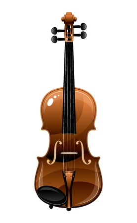 beautiful brown  violin on a white background