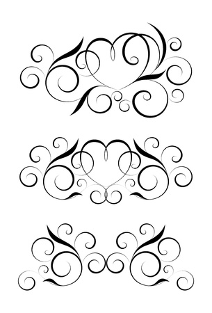 black floral elements on a white background