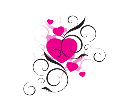 pink hearts with decorative elements on a white background Illustration