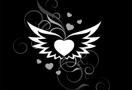 white heart with wings on a black background