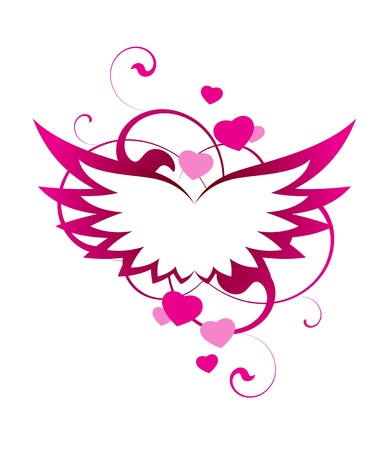 painted image: Pink wings with decorative elements on a white background Illustration