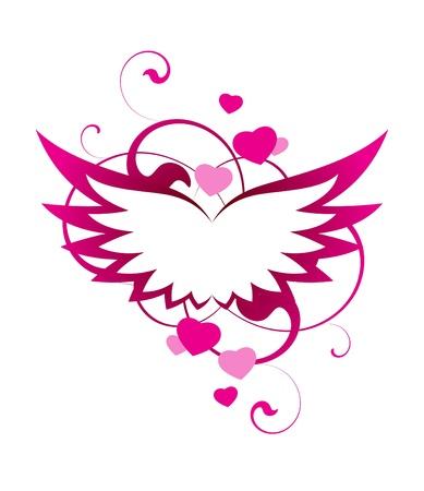 corazon con alas: Rosas alas con elementos decorativos sobre un fondo blanco Vectores