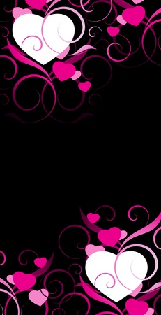 pink and black: pink and white hearts with decorative elements on a black background