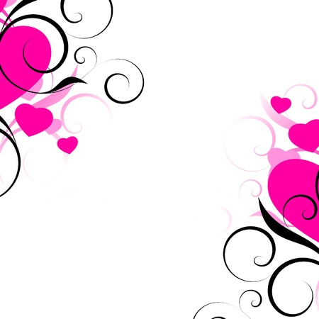 pink swirl: pink hearts with decorative elements on a white background Illustration