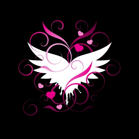 angel valentine: white Wings with decorative elements on a black background