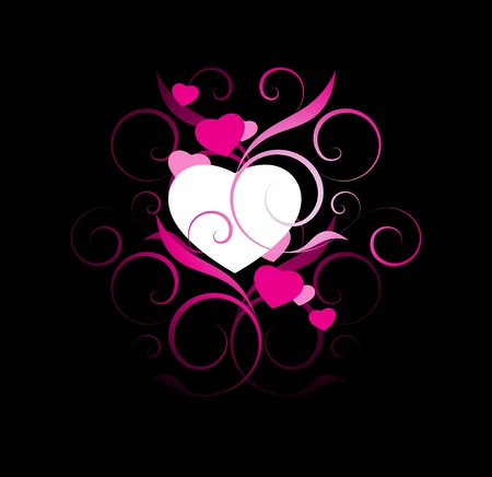 pink hearts: ink and white hearts with decorative elements on a black background
