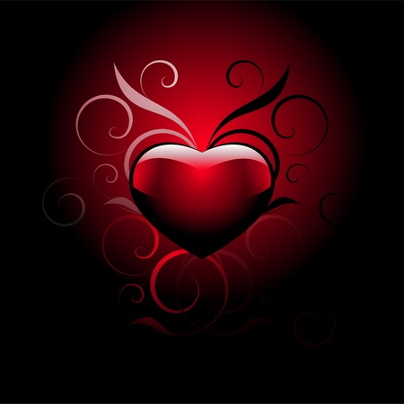 red heart with decorative elements on a gradient background Illustration