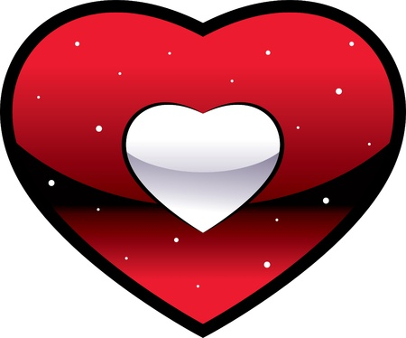 red decorative heart on a white background  Illustration