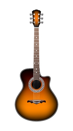 acoustic guitar on a white background Stock Vector - 10197080