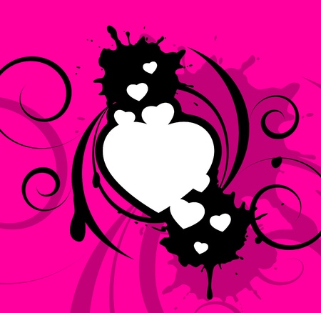 White hearts with decorative black elements on a pink background Illustration