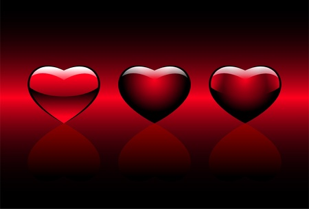 red hearts on a gradient background Illustration