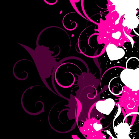 white hearts with decorative elements on a black background Illustration