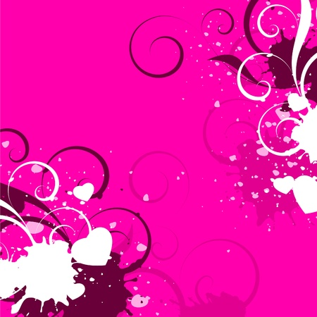 white hearts with decorative elements on a pink background Vector