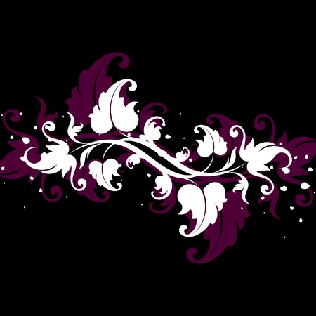 decorative white elements on a black background Illustration