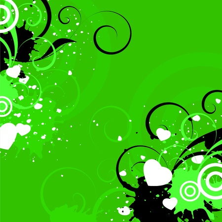 white and black decorative elements on a green background Illustration