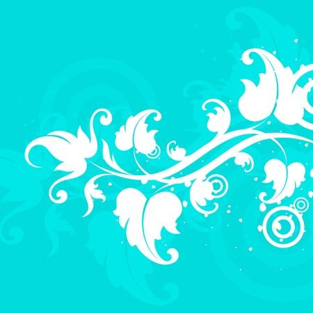 turquoise swirl: white flower on a  turquoise background  Illustration
