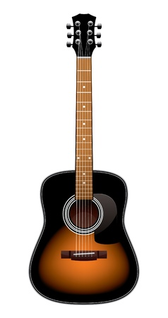 orange acoustic guitar on a white background