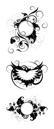 wings grunge: banners with decorative elements on a white background Illustration