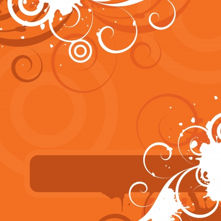 Orange background with floral elements