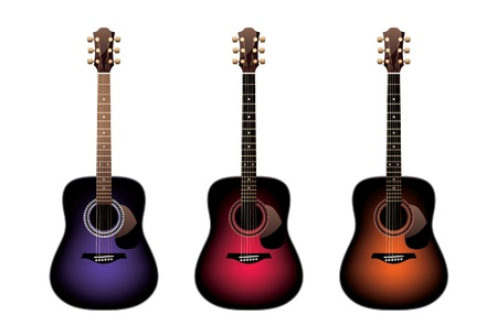 strum: Three acoustic guitars on a white background