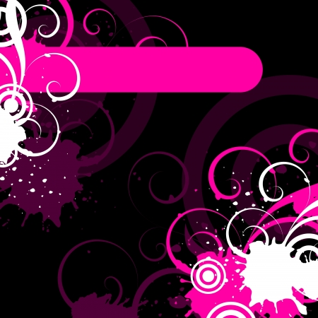 white and pink decorative elements on a black background Illustration