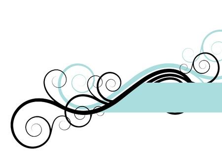 turquoise swirl: decoration elements on a white background Illustration