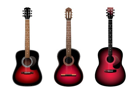 Three acoustic guitars on a white background